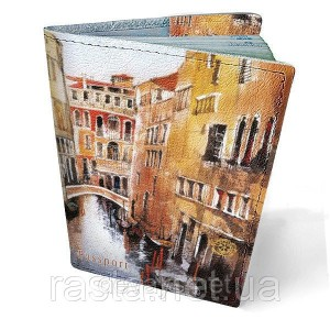 Кожаная обложка на паспорт  Венеция