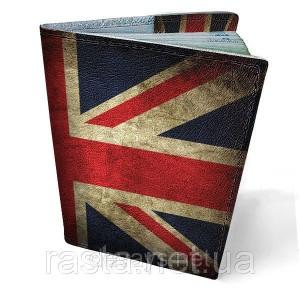 Кожаная обложка на паспорт  Британский флаг