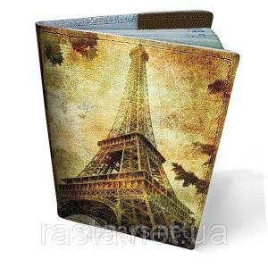 Кожаная обложка на паспорт Эйфелева башня
