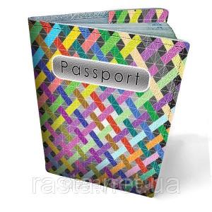 Кожаная обложка для паспорта Радуга